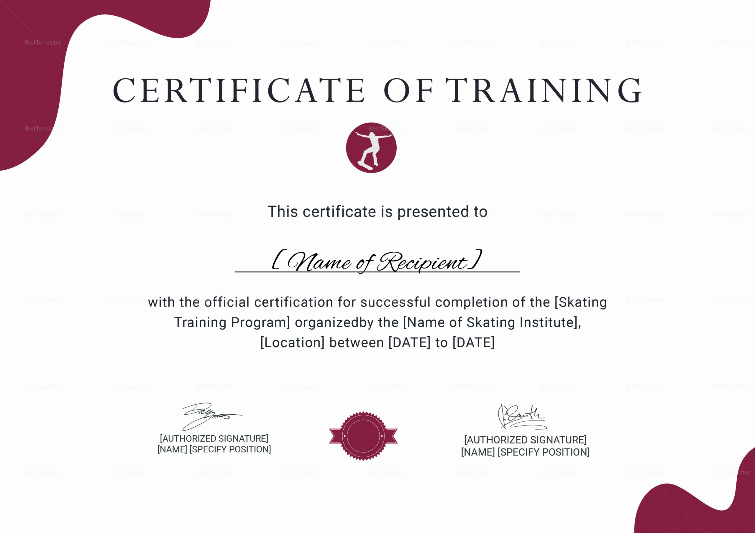 Training Certificate Template Free Download Beautiful Training Certificate for Skating Design Template In Psd Word