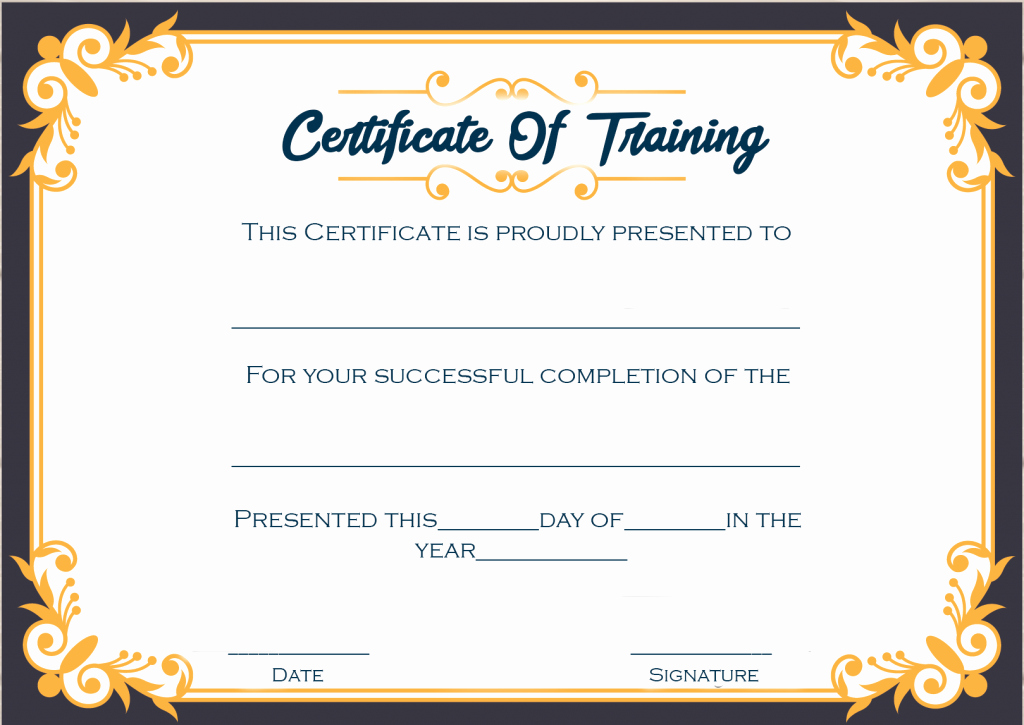 Training Certificate Template Free Download Fresh 4 Printable Sample Certificate Of Training Template