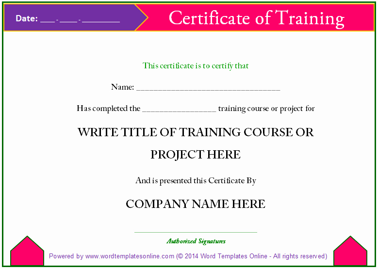 Training Certificate Template Free Download Inspirational Training Certificate Template Word