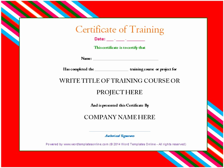 Training Certificate Template Free Download Unique Professional Training Certificate Template From Word