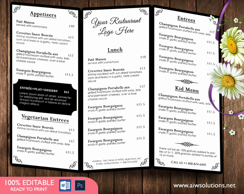 Tri Fold Menu Template Free Beautiful Design & Templates Menu Templates Wedding Menu Food