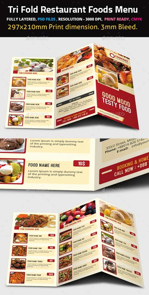 Tri Fold Menu Template Free Beautiful Food Menu Templates Graphicriver Tri Fold Restaurant