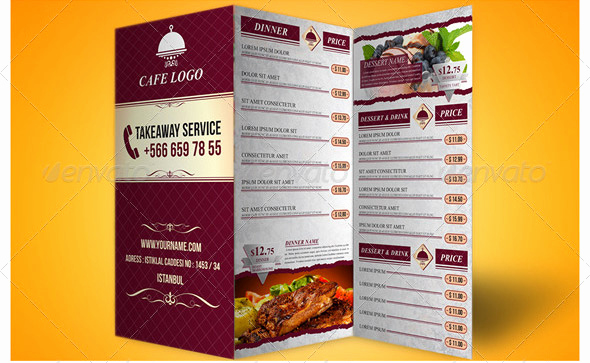Tri Fold Menu Template Free Fresh 14 Great Tri Fold Restaurant Menu Psd Templates