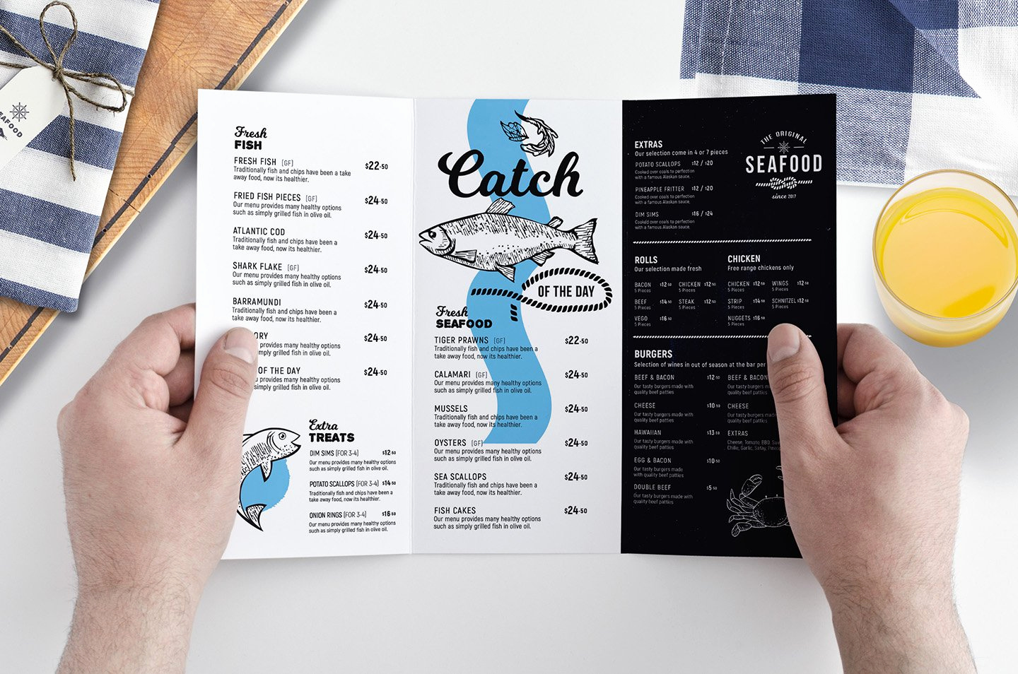 Tri Fold Menu Template Free Fresh Tri Fold Seafood Menu Template Brochure Templates
