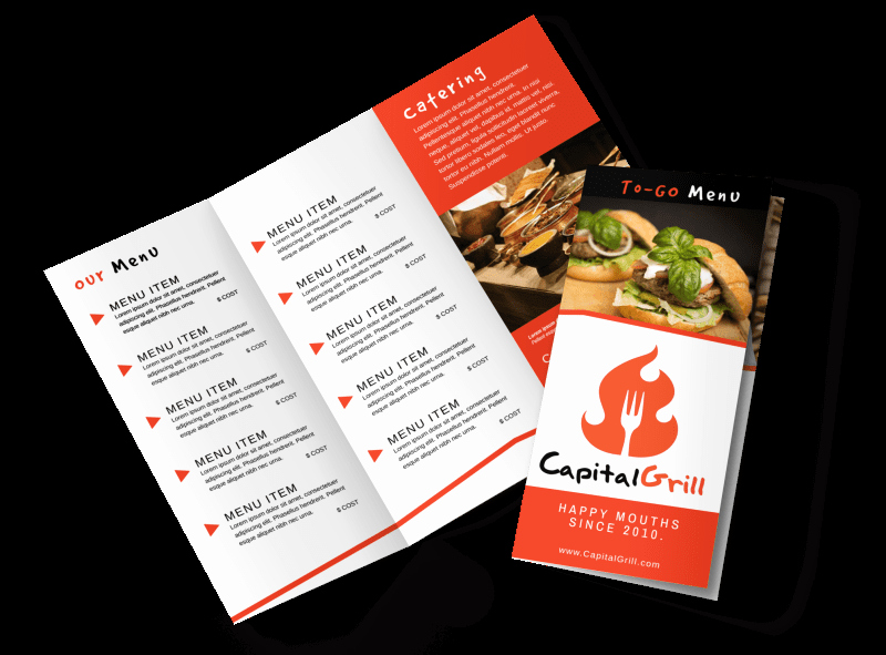 Tri Fold Menu Template Free Luxury Restaurant to Go Menu Tri Fold Brochure Template