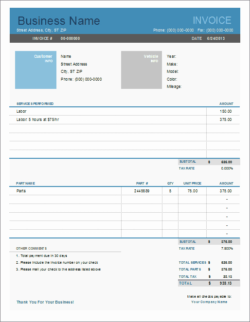 Truck Repair Invoice Template Awesome Auto Repair Invoice Template for Excel