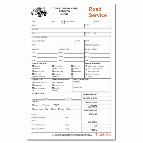 Truck Repair Invoice Template Luxury towing Invoice forms In 2020