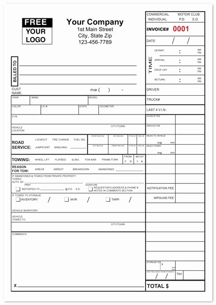 Truck Repair Invoice Template Unique tow Service Invoice form is A Fully Customizable Invoice