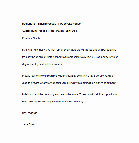 Two Weeks Notice Email Template Best Of 15 Two Weeks Notice Templates Google Docs Ms Word