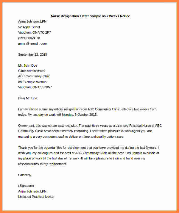 Two Weeks Notice Email Template Elegant 5 Example Of Resignation Letter 1 Week Notice