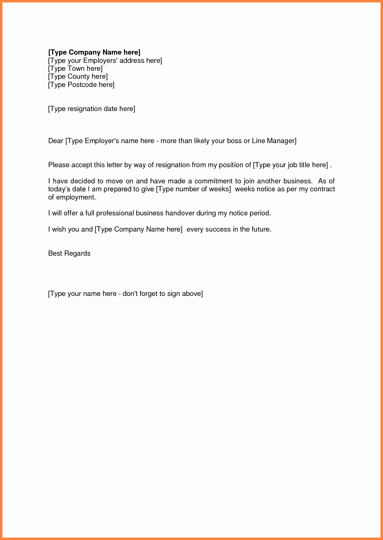 Two Weeks Notice Email Template Fresh 4 Resignation Letter 2 Week Notice Email