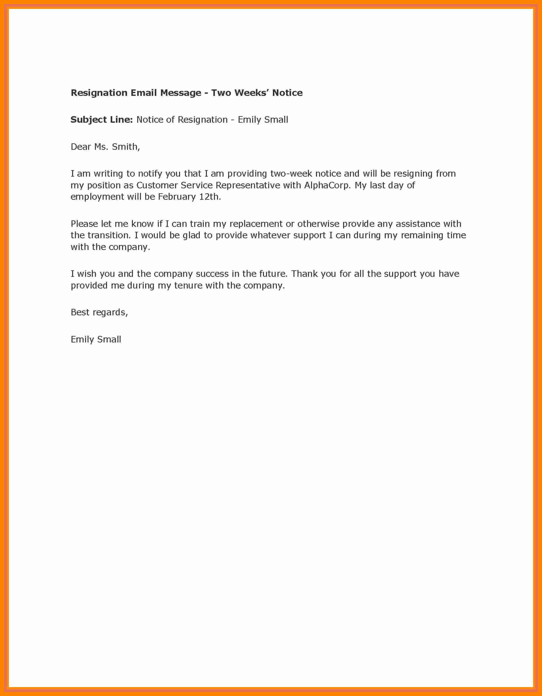 Two Weeks Notice Email Template Fresh 8 Giving Two Weeks Notice On A Monday