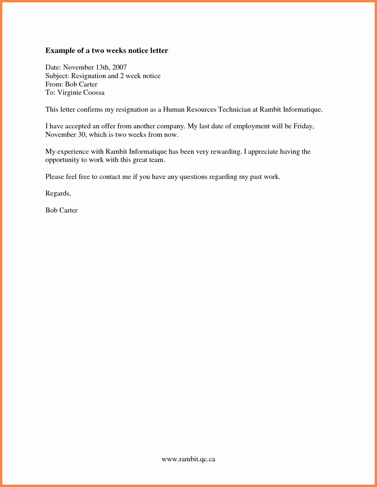 Two Weeks Notice Email Template Lovely 7 formal 2 Week Notice Email