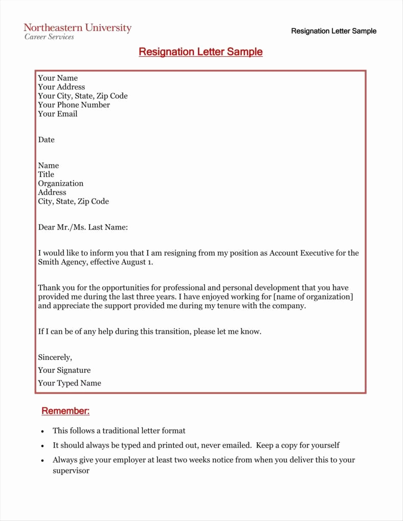 Two Weeks Notice Email Template New 33 Simple Resign Letter Templates Free Word Pdf Excel