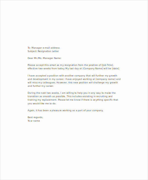 Two Weeks Notice Email Template New 9 Email Resignation Letter Templates Free Word Pdf