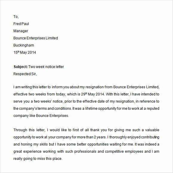 Two Weeks Notice Email Template New Sample 2 Weeks Notice Template 6 Free Documents