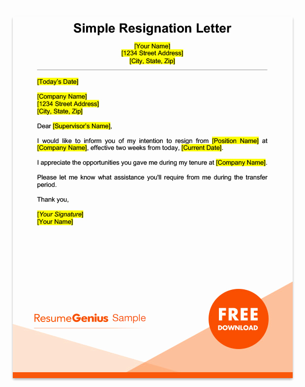 Two Weeks Notice Email Template Unique Two Weeks Notice Letter Sample Free Download
