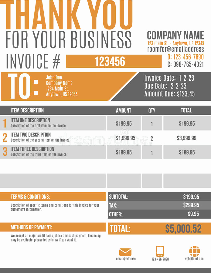 Website Design Invoice Template Luxury Fun Invoice Template Design Stock Vector Illustration Of