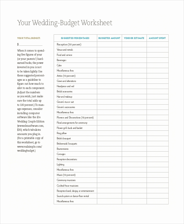 Wedding Budget Spreadsheet Template Awesome Spreadsheet Template – 16 Free Word Pdf Documents