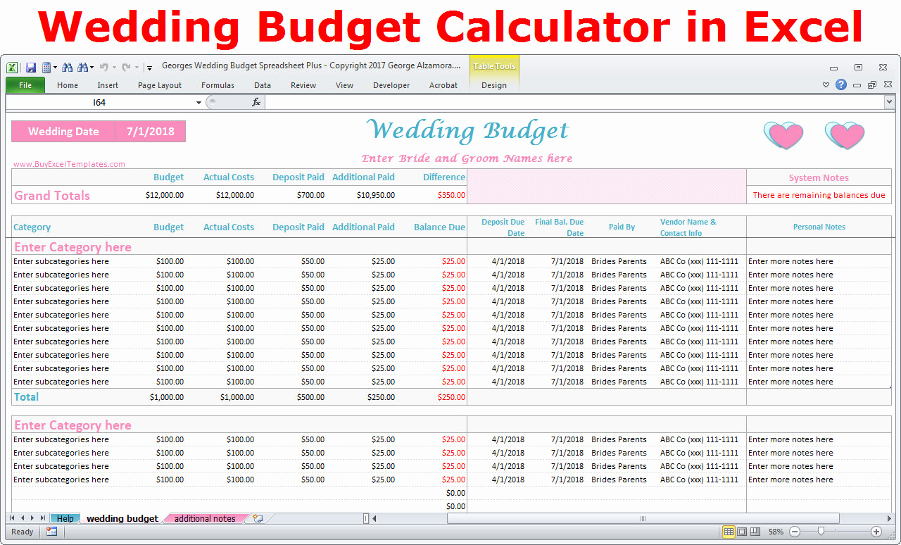Wedding Budget Spreadsheet Template Awesome Wedding Bud Cost Calculator Excel Spreadsheet Template