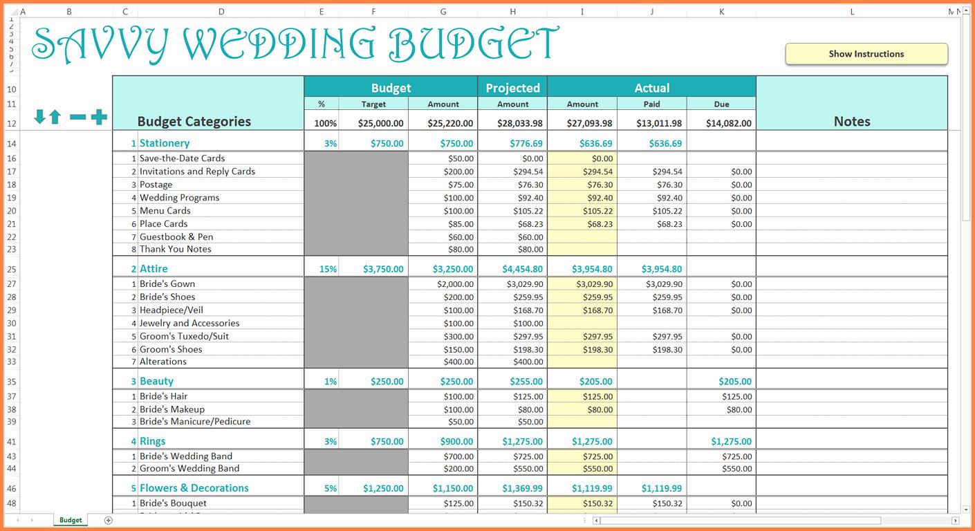 Wedding Budget Spreadsheet Template Elegant 9 Wedding Bud Excel Spreadsheet