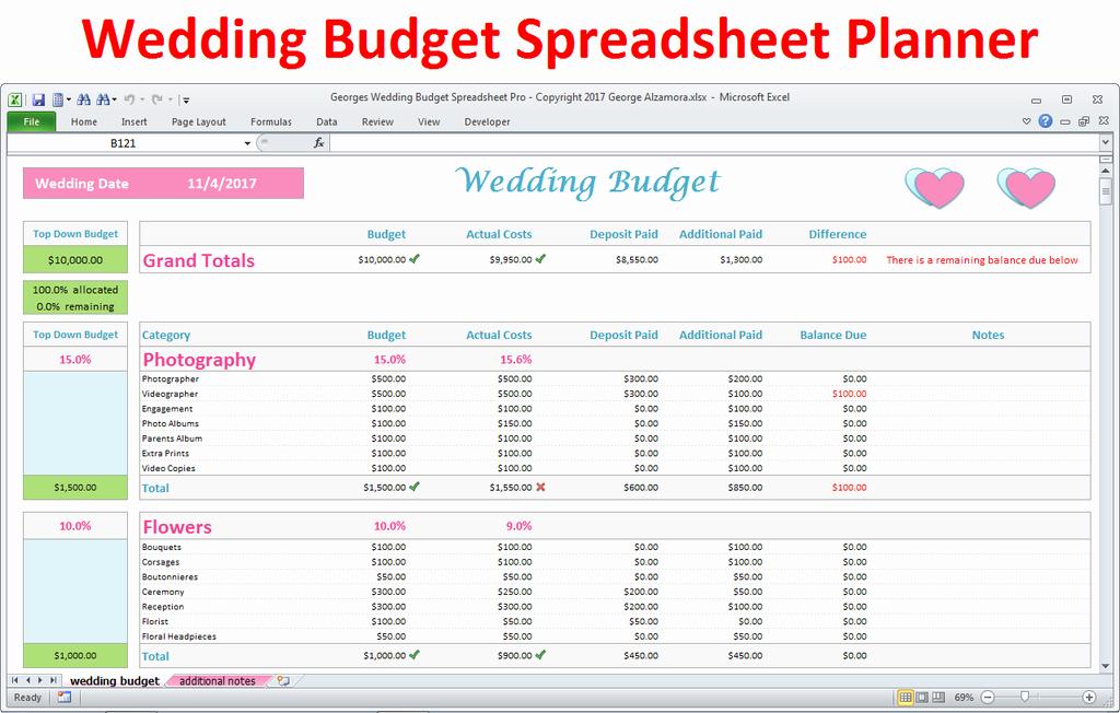 Wedding Budget Spreadsheet Template Elegant Wedding Bud Spreadsheet Excel Wedding Planner Pro
