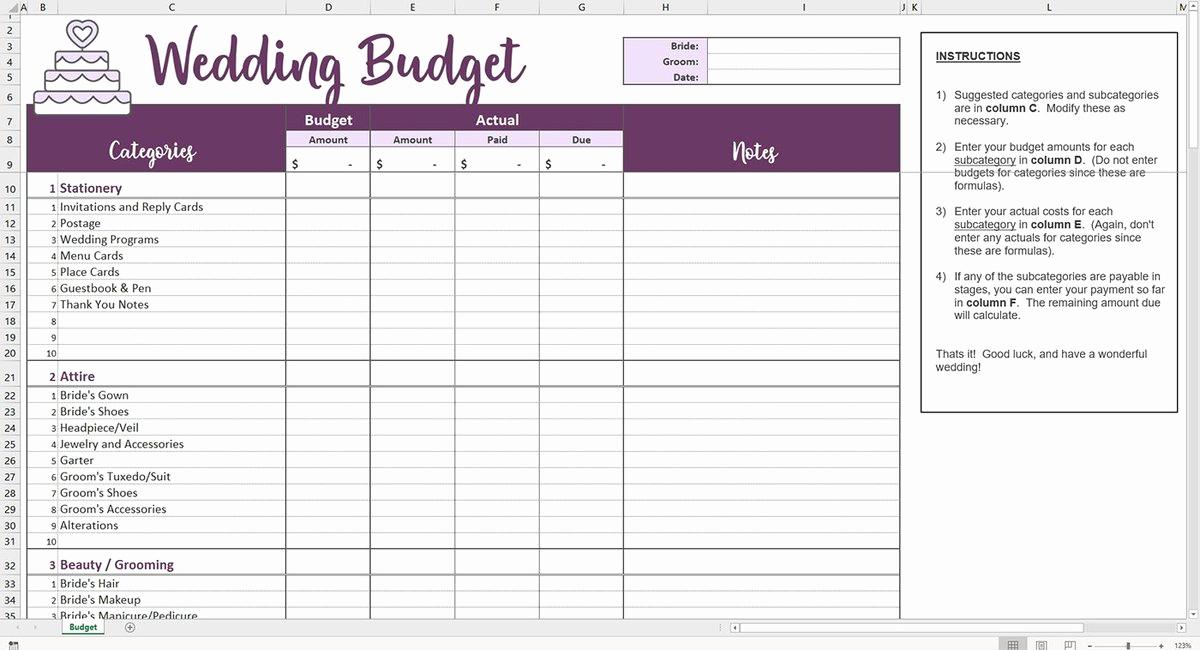 Wedding Budget Spreadsheet Template Inspirational Easy Wedding Bud Excel Template – Savvy Spreadsheets