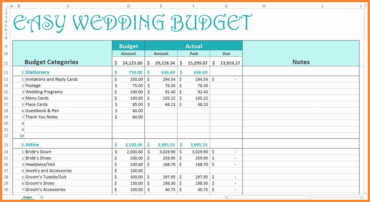 Wedding Budget Spreadsheet Template Lovely 9 Wedding Bud Excel Spreadsheet