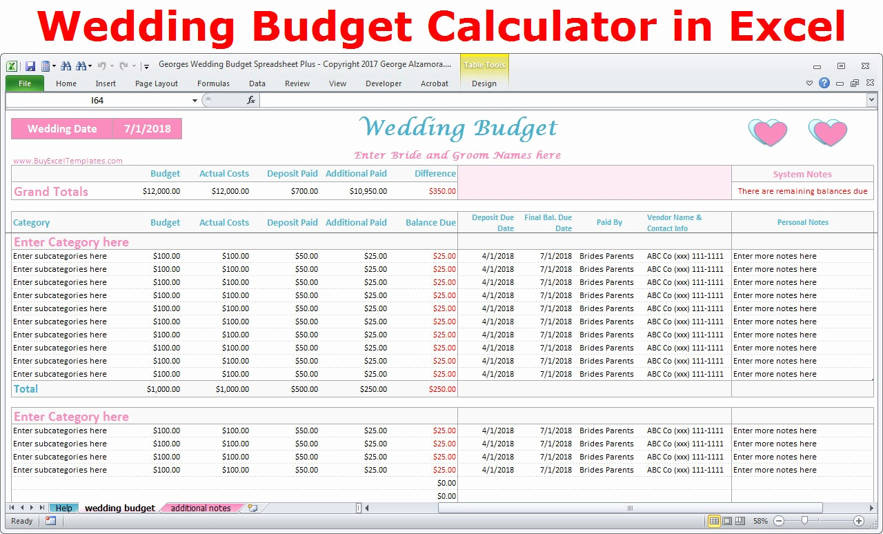 Wedding Budget Template Excel Awesome Wedding Bud Cost Calculator Excel Spreadsheet Template