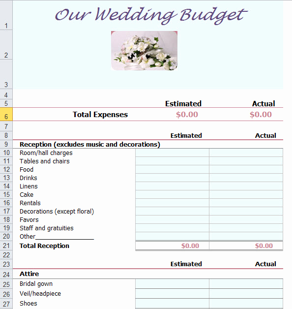 Wedding Budget Template Excel Beautiful Wedding Bud Planner Template for Excel