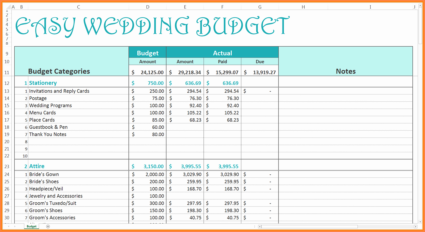 Wedding Budget Template Excel Best Of 9 Wedding Bud Excel Spreadsheet