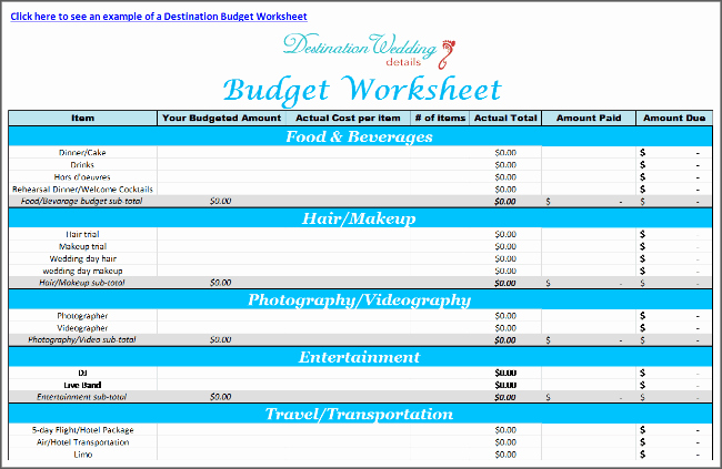 Wedding Budget Template Excel Elegant Super Simple Destination Wedding Planning Spreadsheets