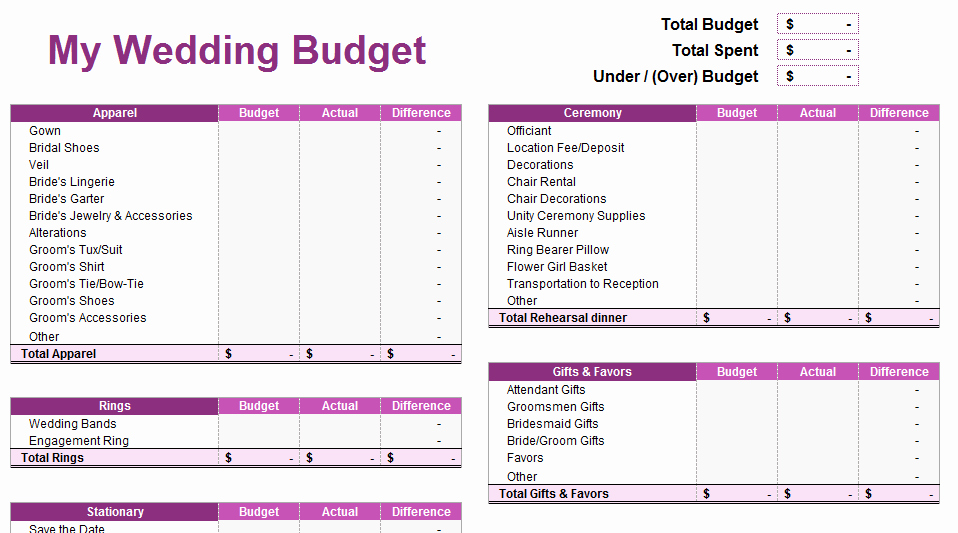 Wedding Budget Template Excel Luxury Wedding Bud Spreadsheet