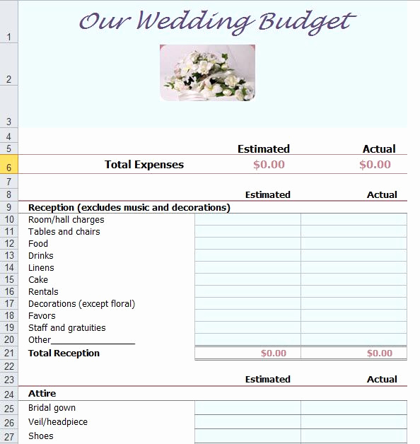 Wedding Budget Template Excel New Wedding Bud Template Excel Bud Wedding