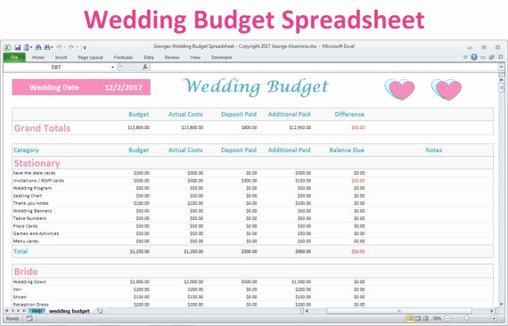 Wedding Budget Template Excel Unique Wedding Bud Spreadsheet Planner Excel Wedding Bud
