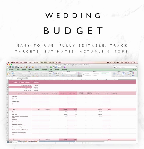 Wedding Budget Template Excel Unique Wedding Bud Tracker Template Excel Spreadsheet Plus
