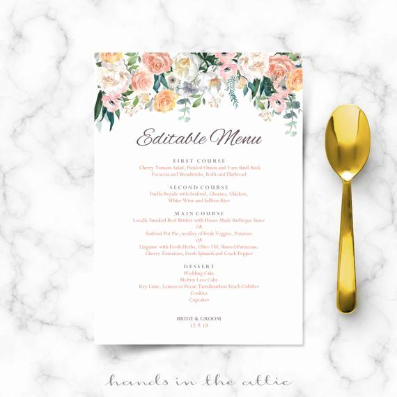 Wedding Buffet Menu Template Awesome Wedding Buffet Menu Cards Floral Diy Template Wedding