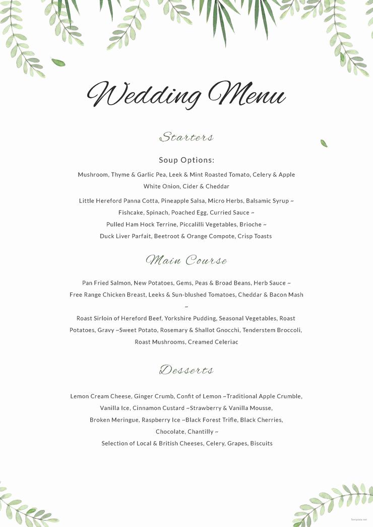 Wedding Buffet Menu Template Beautiful Free Sample Wedding Menu