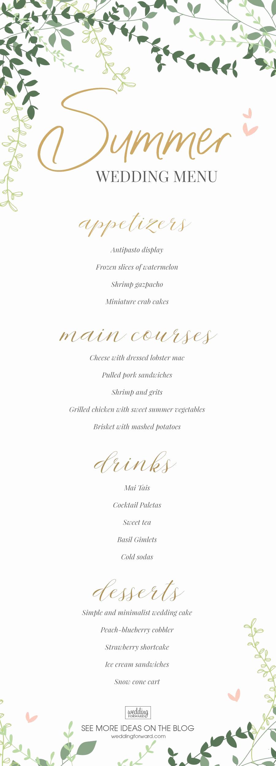 Wedding Buffet Menu Template Elegant top Wedding Menu Ideas In 2020 and Tips