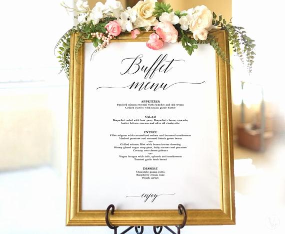 Wedding Buffet Menu Template Inspirational Wedding Buffet Menu Sign Printable Wedding Menu Template