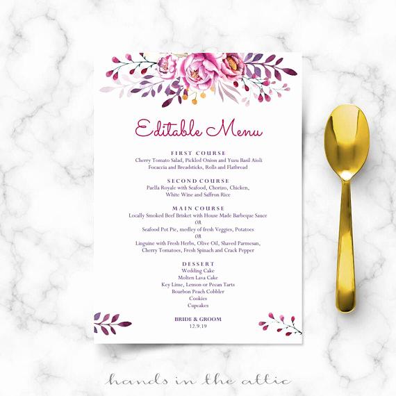 Wedding Buffet Menu Template Lovely Printable Menu Cards Do It Yourself Diy Card Template