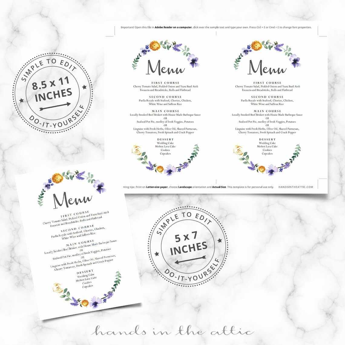 Wedding Buffet Menu Template Luxury Purple Floral Wedding Buffet Menu Template