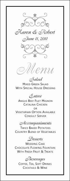 Wedding Buffet Menu Template New Free Printable Wedding Menus