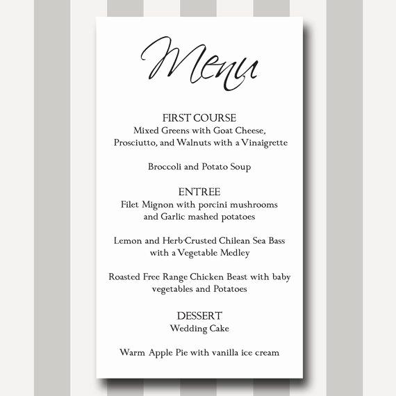 Wedding Buffet Menu Template New Menu Card Diy Printable Template Modern Traditional