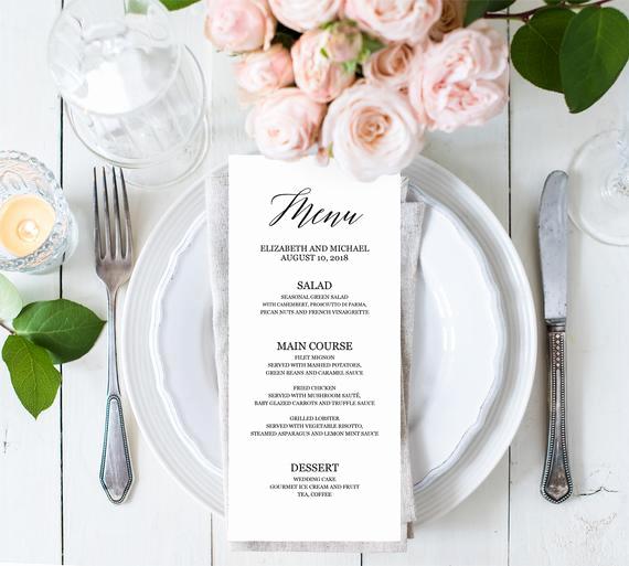 Wedding Buffet Menu Template Unique Dinner Party Menu Template Editable Pdf Wedding Buffet