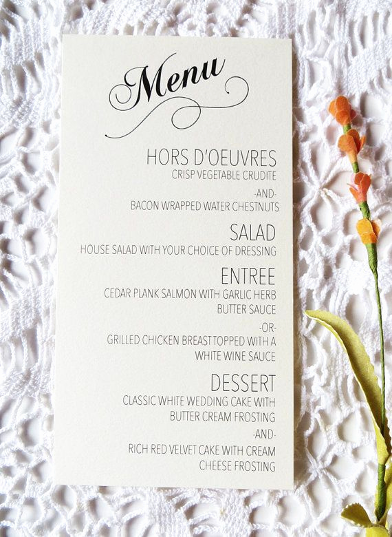 Wedding Buffet Menu Template Unique Wedding Menus are Great for Speeding Up that Buffet Line