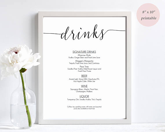 Wedding Drink Menu Template Beautiful Drinks Menu Template Printable Wedding Bar Sign Editable