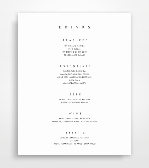 Wedding Drink Menu Template Beautiful Items Similar to Bar Menu Bar Menu Template Bar Menu