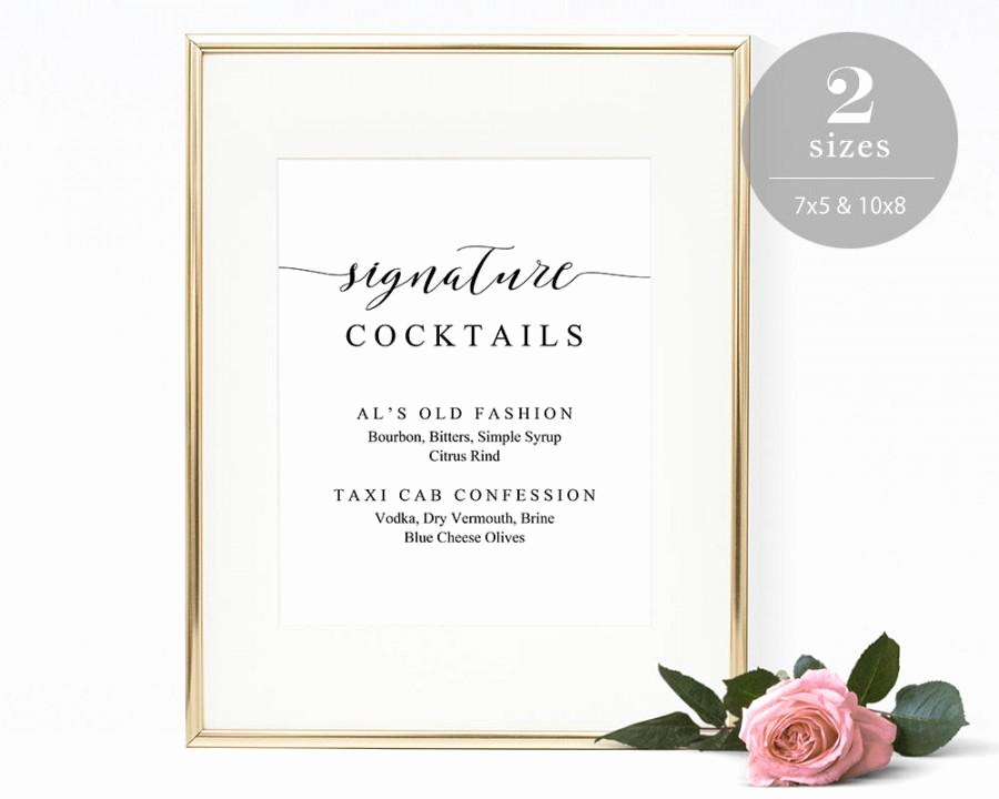 Wedding Drink Menu Template Beautiful Signature Cocktails Sign Template Printable Drink Sign