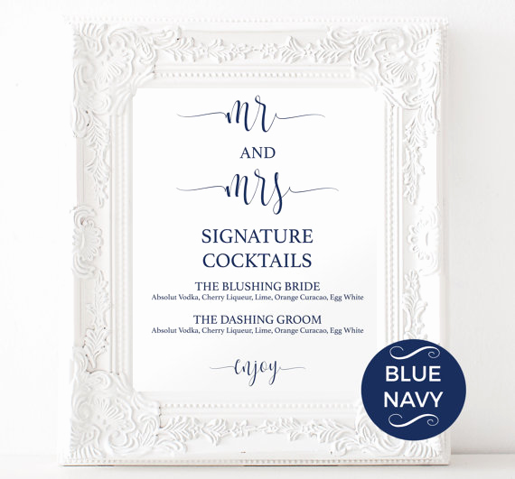 Wedding Drink Menu Template Beautiful Signature Drinks Printable Navy Signature Drink